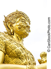 golden guardian giant sculpture in Thailand temple isolated on white background
