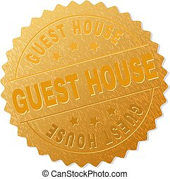 Golden GUEST HOUSE Medallion Stamp - GUEST HOUSE gold stamp ...