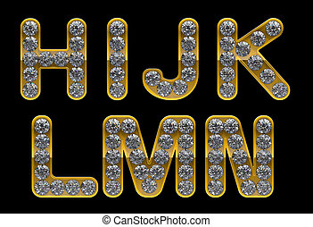 Golden H, I, J, K, L, M, N, letters incrusted with diamonds