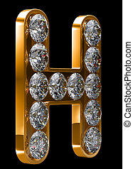 Golden H letter incrusted with diamonds