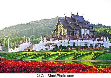 Golden hall, the landmark of Chiang Mai, Thailand.