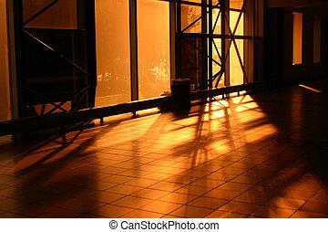 Golden Hallway - hallway at the sky way in Toronto Ontario...