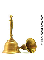 Golden Handbell - Bell Isolated on White