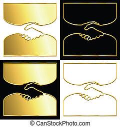 Golden handshake - Variations of a handshake symbol in gold.