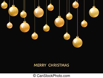 Golden  hanging Christmas balls isolated on black  background.