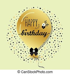 Golden Happy Birthday balloon
