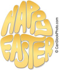 Golden Happy Easter lettering in the form of an egg