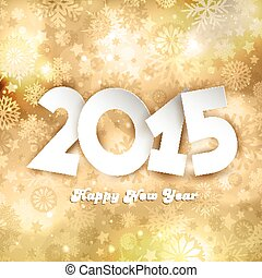 Golden Happy New Year background with snowflakes and star ...