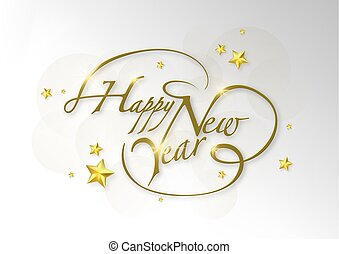 Happy New Year Calligraphic Greeting Card