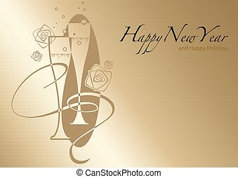 Golden Happy New Year Greeting