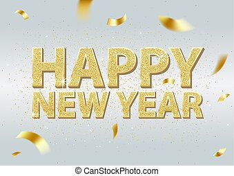 Golden Happy New Year Inscription Background
