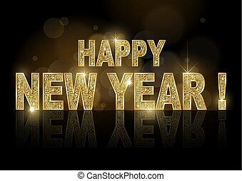 Golden Happy New Year on Dark Bokeh Background