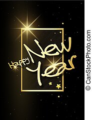 Golden Happy New Year with 3d Frame on a Black