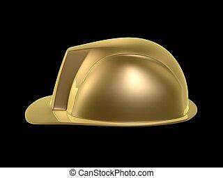 hard hat - golden hard hat of engineer isolated on dark...