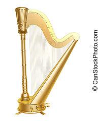golden harp - golden ancient harp isolated on white...