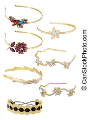 Golden head band collection, with diamonds or semiprecious stones, isolated on white background. Clipping paths included