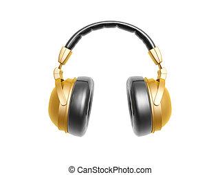golden headphone isolated on white background