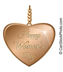 Golden heart for Womens Day. Gold pendant in the shape of a heart with an greeting inscription
