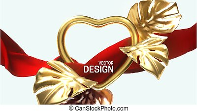 Golden heart frame and flowing red fabric