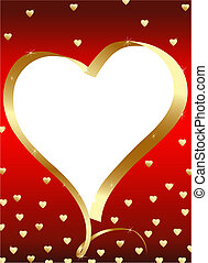 Golden heart-frame with copyspace at the red