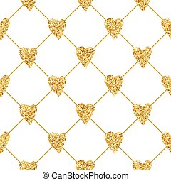 Golden Heart Glitter Background - seamless pattern - in vector