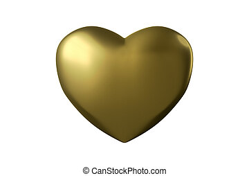 Golden Heart Isolated on White, 3D Rendering