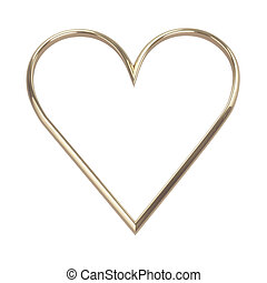 golden heart isolated on white with clipping path