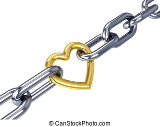 Golden heart link in a chrome chain, isolated on white