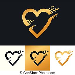 Golden heart logo for your company.
