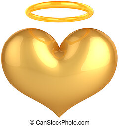 Golden heart of Angel. Saint Love - Heart Love Angel golden...