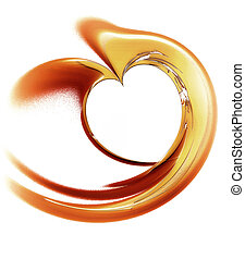 Golden heart on a white background