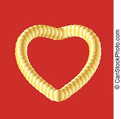 Golden heart on red background vector