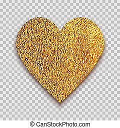 Golden heart on transparent background