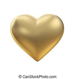 Golden heart on white