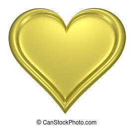 Golden heart pendant isolated on white background