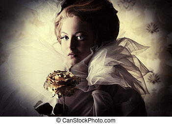 golden heart - Beautiful fashion model in the refined white...