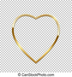 Golden heart shape border isolated on transparent background. Vector golden frame.