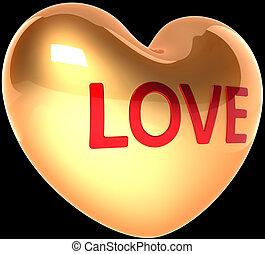Golden heart shape in Love on black