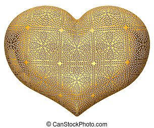 Golden heart shape inlaid with diamonds over white...