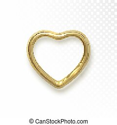 Golden heart shape isolated on black transparent background.