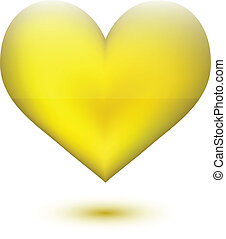 Golden Heart shape on white