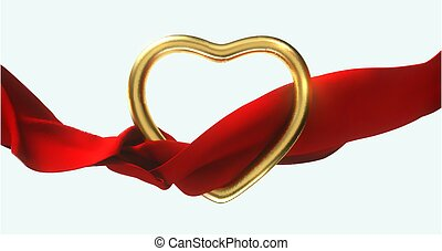 Golden heart shape with flowing red cloth