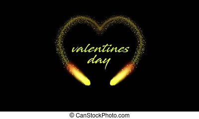 Golden heart shaped animation on black background for valentines day, 4K video