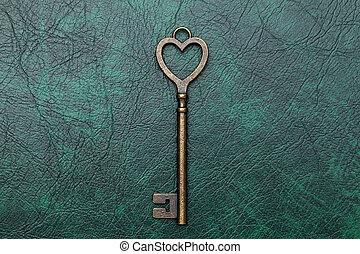 golden heart shaped key