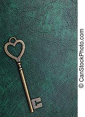 golden heart shaped key - golden heart shaped vintage key on...