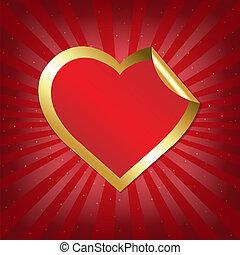 Golden Heart Sticker With Sunburst
