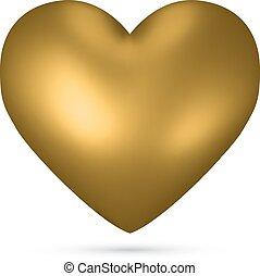 Golden heart vector shape isolated on white background.