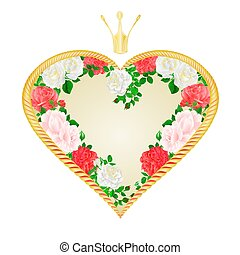 Golden heart with a crown of pink and white roses vector