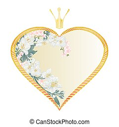 Golden heart with a crown with Jasmine and flowers of cherry valentine's day vector