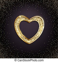 Golden heart with golden glitter isolated on dark background. Vector realistic luxury design element.